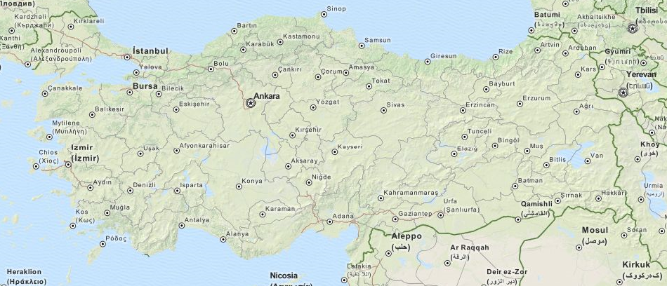 Map of Turkey in ExpertGPS GPS Mapping Software