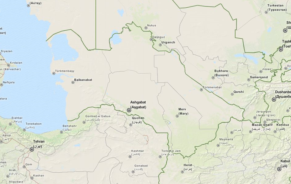 Map of Turkmenistan in ExpertGPS GPS Mapping Software