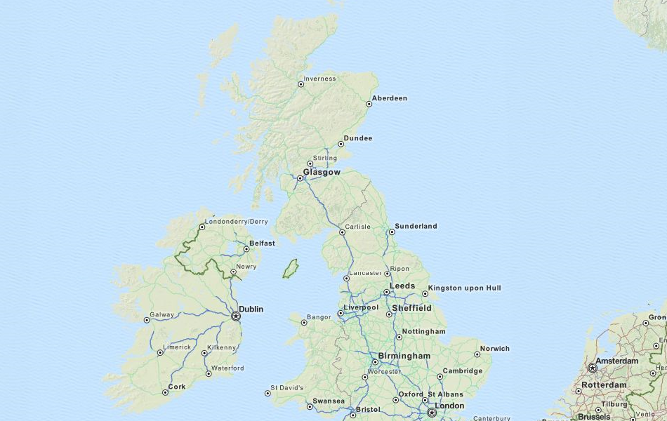 Map of United Kingdom in ExpertGPS GPS Mapping Software
