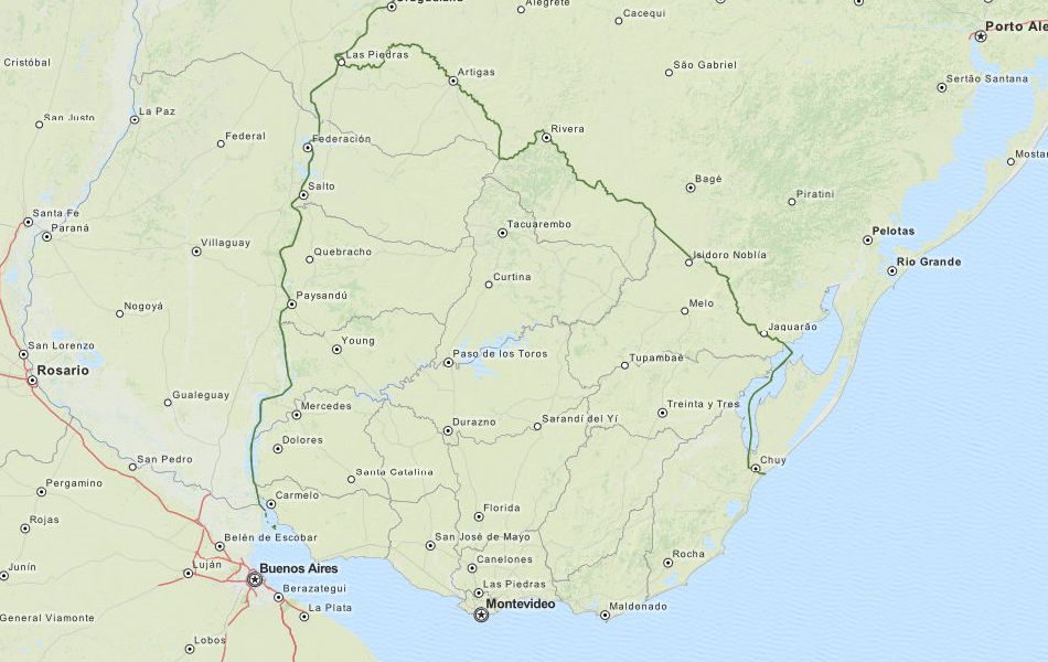 Map of Uruguay in ExpertGPS GPS Mapping Software
