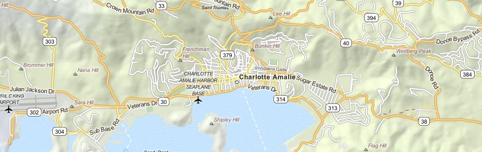 Map of US Virgin Islands in ExpertGPS GPS Mapping Software