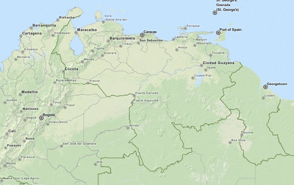 Map of Venezuela in ExpertGPS GPS Mapping Software