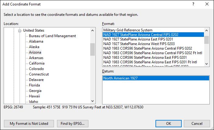 Arizona coordinate and datum converter: Arizona state plane, UTM, lat/long, NAD83, NAD27, WGS84