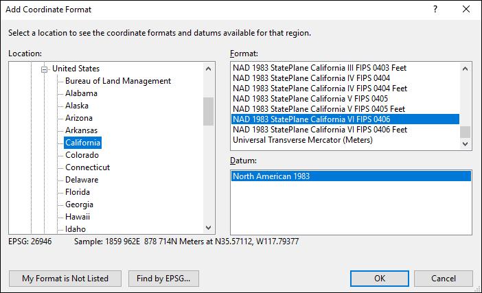 california coordinate and datum converter: california state plane, UTM, lat/long, NAD83, NAD27, WGS84