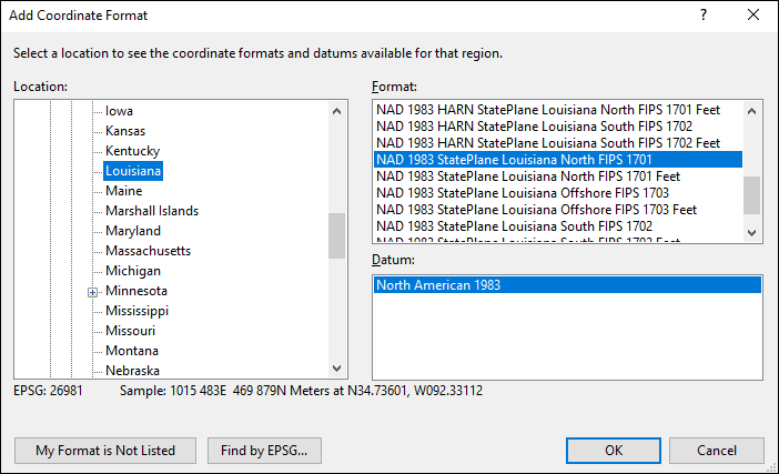 Louisiana coordinate and datum converter: Louisiana state plane, UTM, lat/long, NAD83, NAD27, WGS84