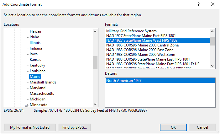 Maine coordinate and datum converter: Maine state plane, UTM, lat/long, NAD83, NAD27, WGS84