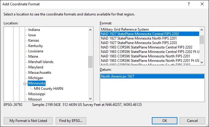 Minnesota coordinate and datum converter: Minnesota state plane, UTM, lat/long, NAD83, NAD27, WGS84