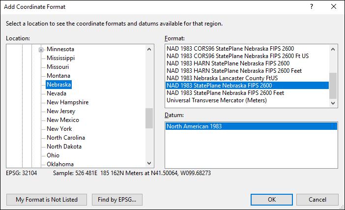 nebraska coordinate and datum converter: nebraska state plane, UTM, lat/long, NAD83, NAD27, WGS84