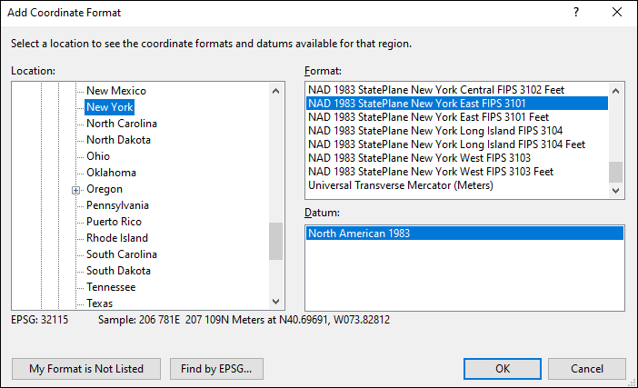 new york coordinate and datum converter: new york state plane, UTM, lat/long, NAD83, NAD27, WGS84