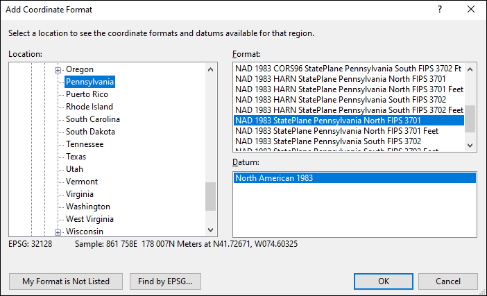 Pennsylvania coordinate and datum converter: Pennsylvania state plane, UTM, lat/long, NAD83, NAD27, WGS84