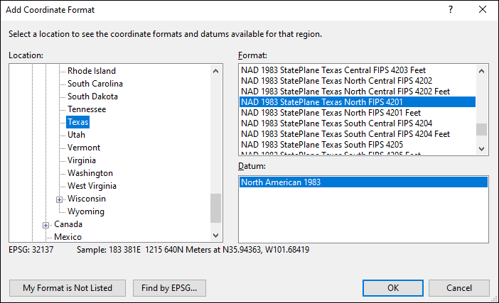 texas coordinate and datum converter: texas state plane, UTM, lat/long, NAD83, NAD27, WGS84